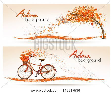 Autumn banners with trees and a bicycle. Vector.