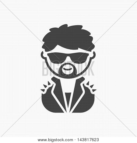 Rock star black icon. Illustration for web and mobile.