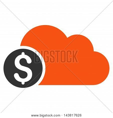 Banking Cloud icon. Vector style is bicolor flat iconic symbol with rounded angles, orange and gray colors, white background.