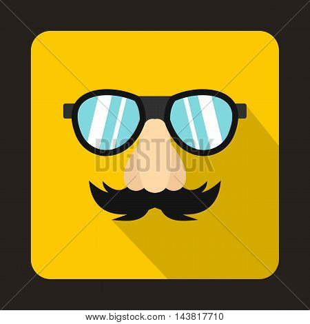 Comedy fake nose mustache, eyebrows and glasses icon in flat style on a yellow background