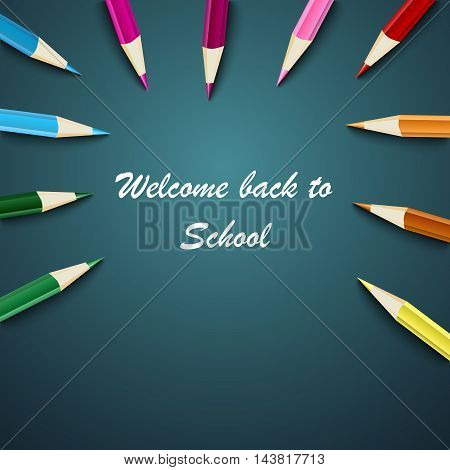 Back to School with colored pencils on the background vector eps 10