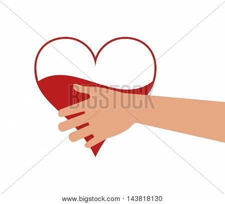 heart hand blood donation medical health care icon. Flat and Isolated design. Vector illustration