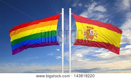 3d rendering rainbow colors flag with Spain flag