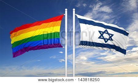 3d rendering rainbow colors flag with Israel flag