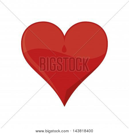 heart red love shape romantic passion icon. Flat and Isolated design. Vector illustration