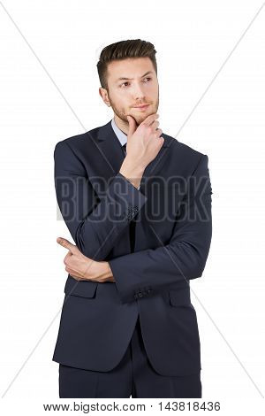 Man Thinking on White Background Isolated Working Businessman Conceptual