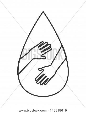 drop hand blood donation medical health care icon. Flat and Isolated design. Vector illustration