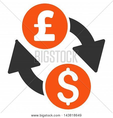 Dollar Pound Exchange icon. Vector style is bicolor flat iconic symbol with rounded angles, orange and gray colors, white background.