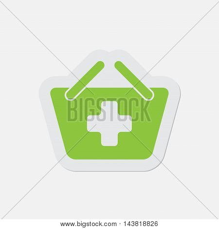 simple green icon with contour and shadow - shopping basket plus on a white background