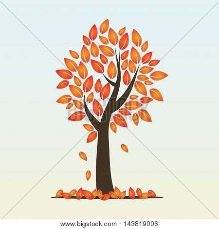 Vector illustration of autumn season tree with deciduous leaves