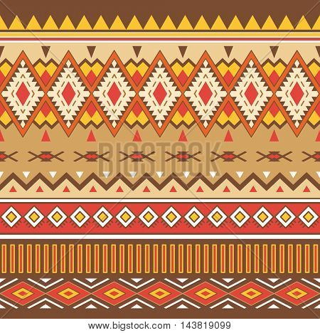 Tribal Boho Seamless Pattern. Ornament with Tribal Shape Elements. Ethnic Geometric Print. Boho  Pattern. Texture for Fabric, Wallpaper and Wrapping.