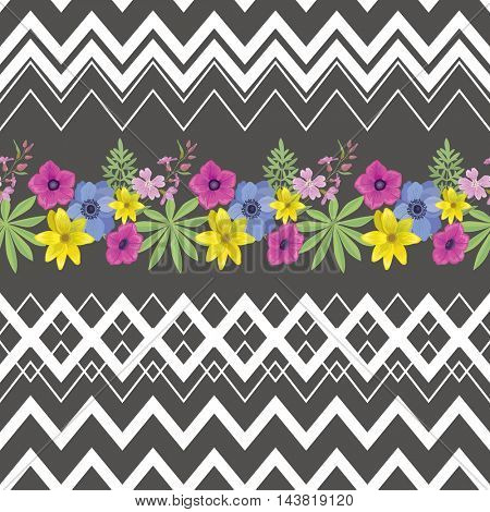 Floral Seamless Pattern with Zigzag Stripes . Summer Ornament with Beautiful Flowers. Fashion  Background for Fabric .