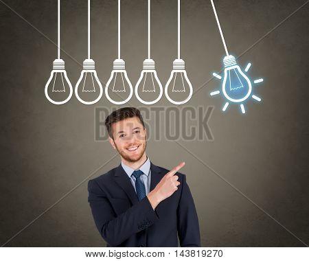 Businessman Bright Idea Concept Working Businessman Conceptual
