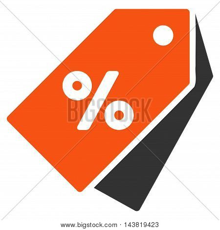 Percent Discount Tags icon. Vector style is bicolor flat iconic symbol with rounded angles, orange and gray colors, white background.