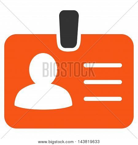 Person Badge icon. Vector style is bicolor flat iconic symbol with rounded angles, orange and gray colors, white background.