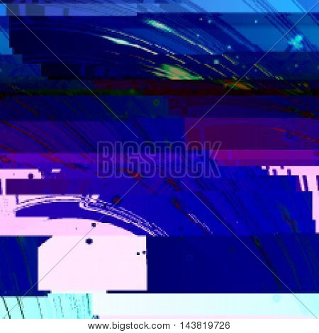 Dark blue background in style glitch-art. Vector illustration.