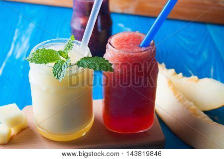 Smoothies Melon On Blue Wooden Boards