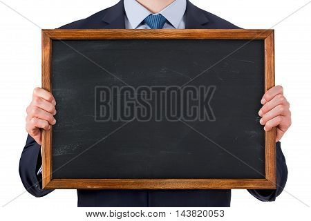 There are chalkboard human hand Working Businessman Conceptual