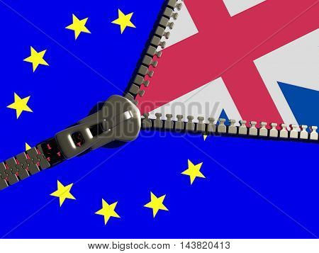 Zipper on the flags of the EU and the England.3d render