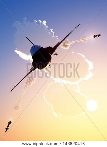 Military aircraft fires in the sky.  ,3d render