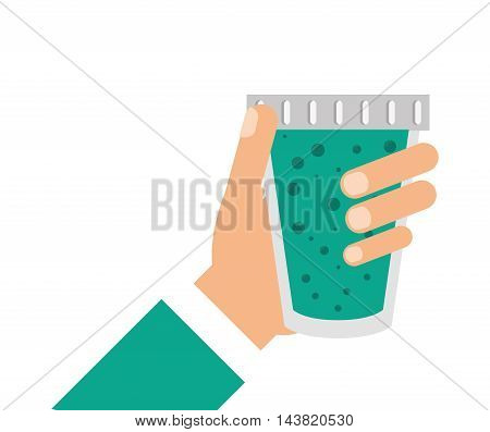juice hand glass drink beverage fresh icon. Flat and isolated design. Vector illustration