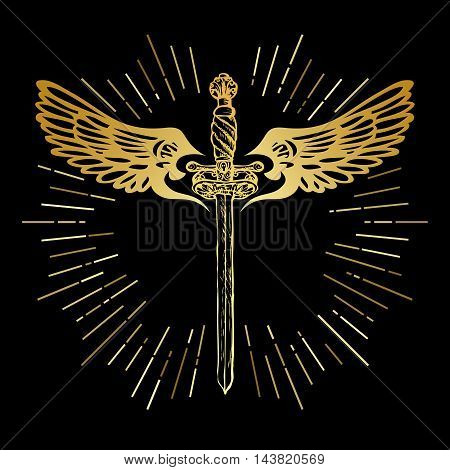 Golden sword and wings. Ornate saber with decorative abstract angel guardian wings and rays vintage elements. Hipster style gold colors. Vector illustration.