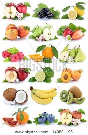 Fruits Apple Orange Berries Apples Oranges Banana Fresh Fruit Strawberry Pear Collection Isolated