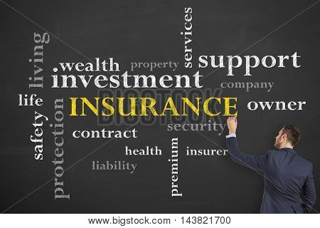 Insurance Concept Diagram on Blackboard Working Businessman Conceptual