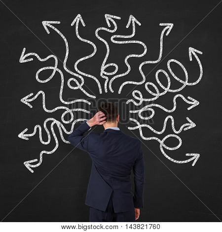 instability on Blackboard Background Working Businessman Conceptual