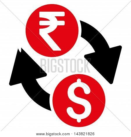 Dollar Rupee Exchange icon. Vector style is bicolor flat iconic symbol with rounded angles, intensive red and black colors, white background.
