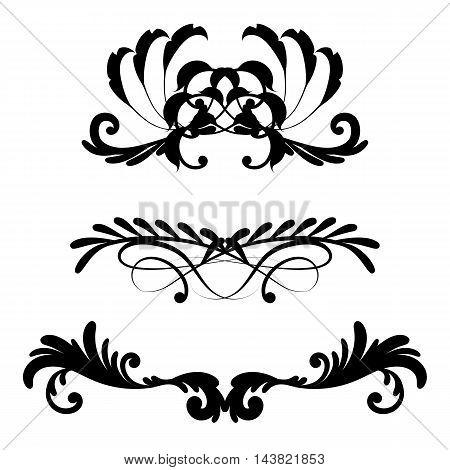 Set of header frames with retro floral elements for monogram or vignette design. Vector illustration.