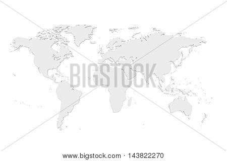 3d Illustration World Map Isolated On A White Background