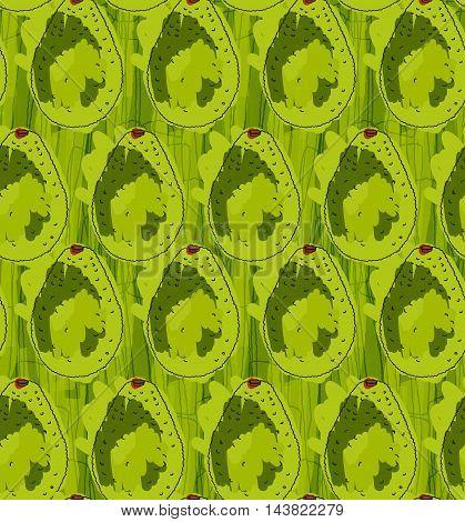 Green Avocado On Marker Brushed Background
