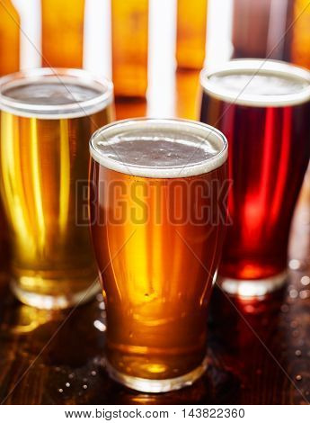 three different types of beer in glass mugs