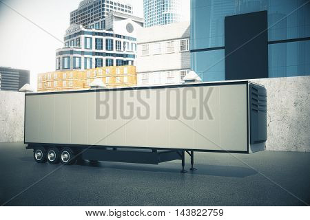 Side view of blank white semi-trailer on city background. Mock up 3D Rendering