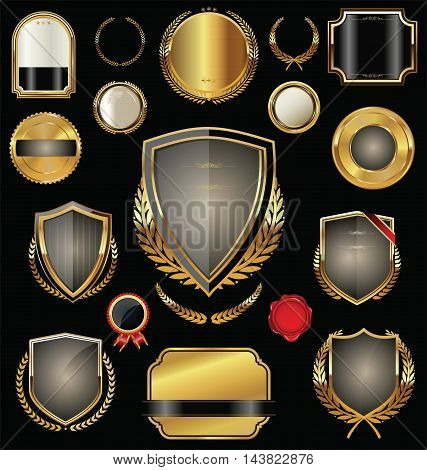 Empty Golden Shield, Badges, Labels And Laurels 2.eps