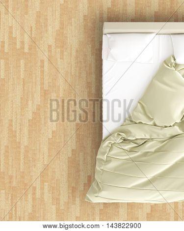 Unmade Bed On Wooden Floor