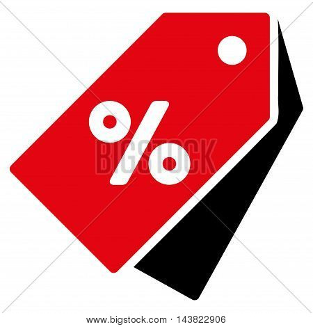 Percent Discount Tags icon. Vector style is bicolor flat iconic symbol with rounded angles, intensive red and black colors, white background.