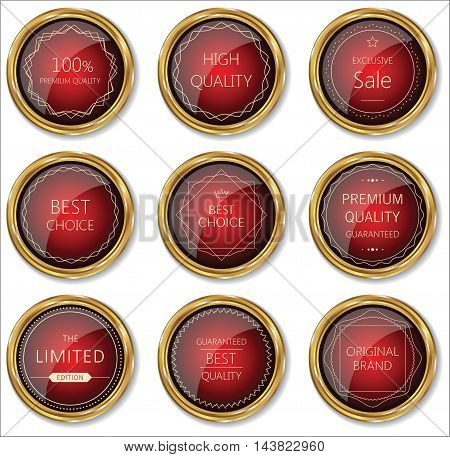 Premium Quality Gold And Red Badge Collection.eps