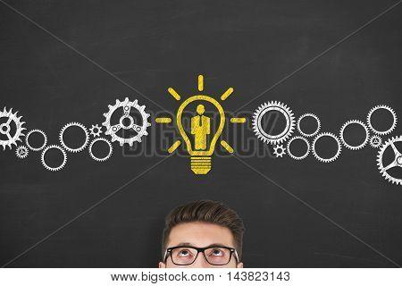 Recruitment Idea Concept on Blackboard Working Businessman Conceptual