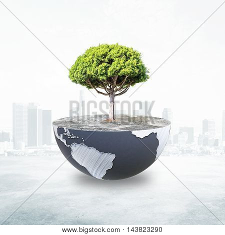 Half a globe with large tree on abstract city background. Green earth concept.  3D Rendering