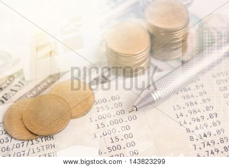 business advertisement family home concept and growing pile coin money with account book for home finance and banking concept