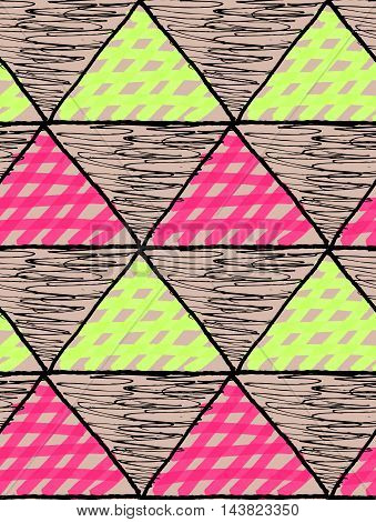 Inked Triangles Scribbled And Checkered With Pink And Green