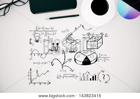 Top view of white desktop with business sketch coffee cup cd smartphone pen and glasses. 3D Rendering