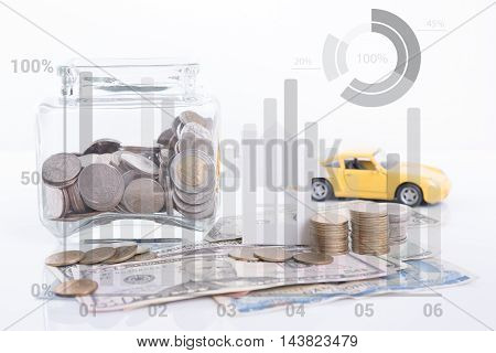 Piggy bank money pile coin with account book and paper home car family on white background business car and home finance insurance concept
