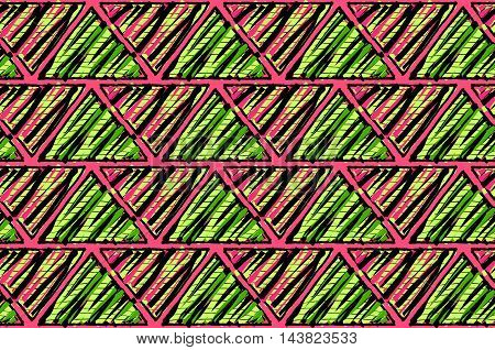 Inked Triangles Scribbled With Pink And Green