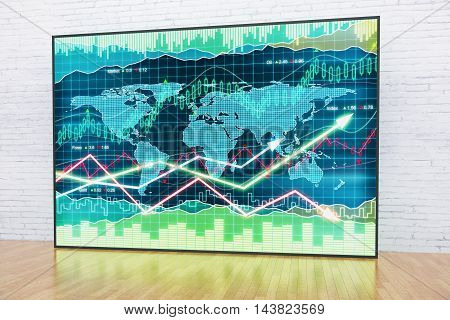 Forex chart in interior with white brick wall and wooden floor. 3D Rendering