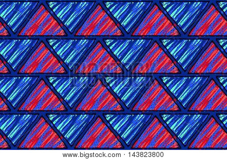 Inked Triangles With Red And Dark Blue