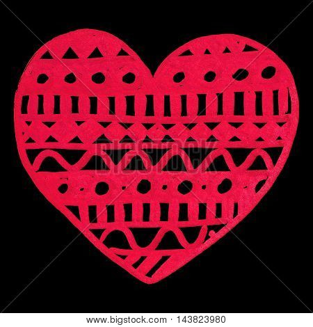 Zentangle doodle red heart ink hand drawn isolated