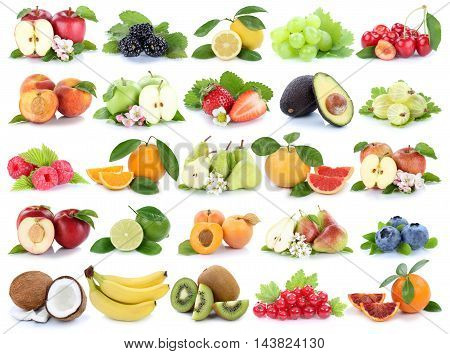 Fruits Fruit Collection Orange Apple Apples Banana Strawberry Pear Grapes Cherry Isolated On White